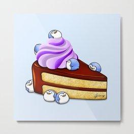 Choc Penguin Cake Metal Print