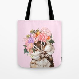 Baby Squirrel with Flowers Crown in Pink Tote Bag