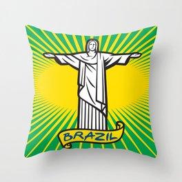 Christ the Redeemer statue in Rio de Janeiro, Brazil Throw Pillow
