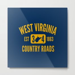 West Virginia Country Roads State Map WV Established 1863 Metal Print