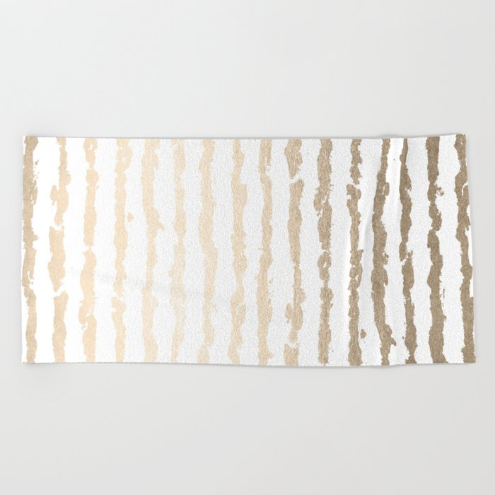 White Gold Sands Vertical Ink Stripes Beach Towel
