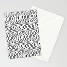 Moving curves optical illusion, black and white ikat pattern Stationery Cards