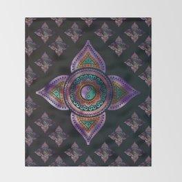 Beautiful  Yin yang in purple teal and orange Throw Blanket