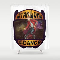 starlord Shower Curtains featuring (Star) Lord of the Dance by Fiendish Thingy Art