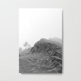 Foggy Mountain Landscape, Black and White Metal Print