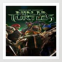ninja turtle Art Prints featuring ninja,turtle by ira gora