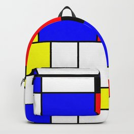 Red Blue Yellow Geometric Squares Backpack