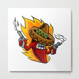 Mexican red chili pepper with guns. Metal Print