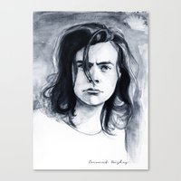 coconutwishes Canvas Prints featuring Harry Watercolors B/N by Coconut Wishes