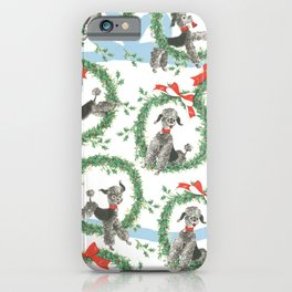POODLES celebrate CHRISTMAS with a blue ribbon iPhone Case