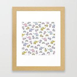 Little Elephant safari rainbow love girls kawaii nursery Framed Art Print