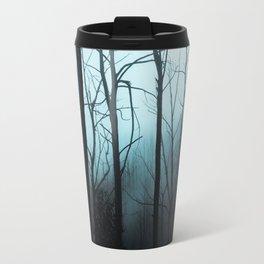 Scary Haunting Halloween Dark Forest Barren Trees Blue Background Travel Mug