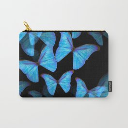 Turquoise Blue Tropical Butterflies Black Background #decor #society6 #buyart Carry-All Pouch