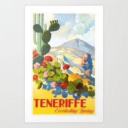 1945 Tenerife Everlasting Spring Spain Travel Poster Art Print