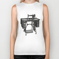 sewing Biker Tanks featuring Singer sewing machine by eARTh