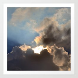 Sunset With Blue And Gold Cloudy Sky  Art Print
