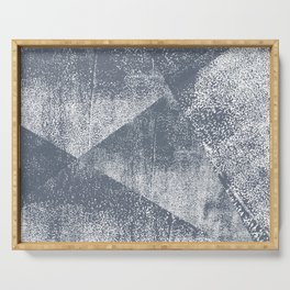 Dark Blue Gray and White Geometric Ink Texture Serving Tray