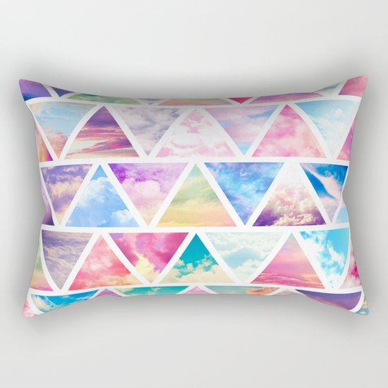 Pink Clouds Teal Sky Abstract Triangles Pattern Rectangular Pillow