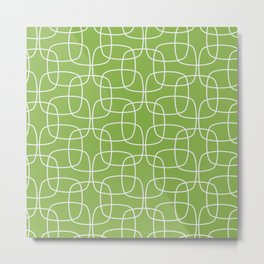 Square Pattern Greenery Metal Print