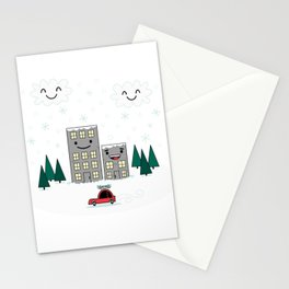 Kawaii Winter Town Stationery Cards