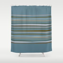 Blueprint and Stripes 1 Shower Curtain