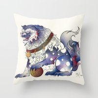 foo fighters Throw Pillows featuring Foo Dog by Chanel Harris