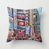 broadway Throw Pillows featuring Broadway, NYC by June Marie