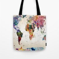 butterfly Tote Bags featuring map by mark ashkenazi