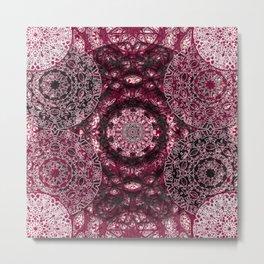 Claret Lace Mandalas Metal Print