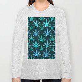 Marijuana Teal Weed Long Sleeve T-shirt