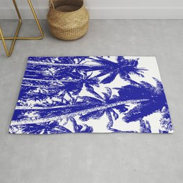 Palm Trees Design in Blue and White Rug