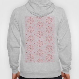 An endless pattern of red twigs arranged in a spiral on a pink background. Hoody