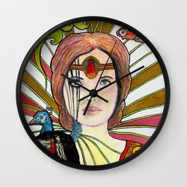 La jeune fille au paon (the peacock maiden) Wall Clock
