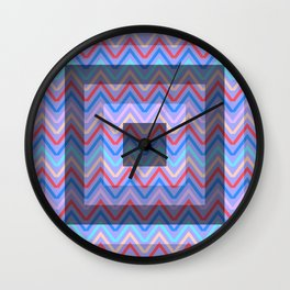 Chevron in shades of blue Wall Clock
