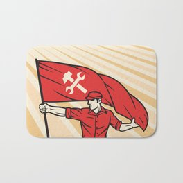 worker holding a flag - industry poster (design for labor day) Bath Mat