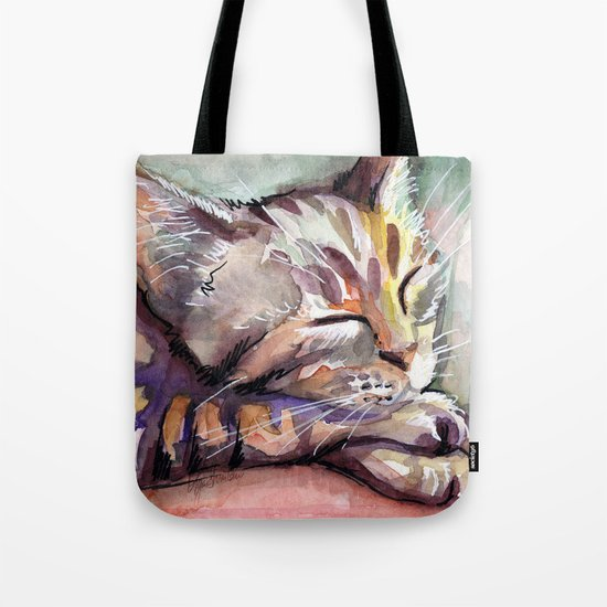 Sleeping Kitten Watercolor Cat Whimsical Cats Tote Bag