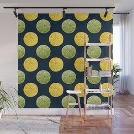 Watercolor Lemon Lime Pattern Wall Mural