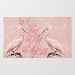 Retro Pelican Vintage old style illustration Rug