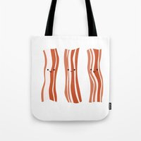 bacon Tote Bags featuring Bacon! by Sara Showalter