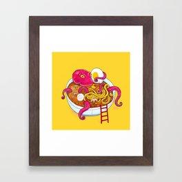 Bowl of ramen with octopus taking a bath Framed Art Print