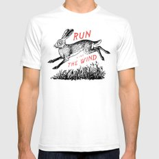 Run Like The Wind White LARGE Mens Fitted Tee