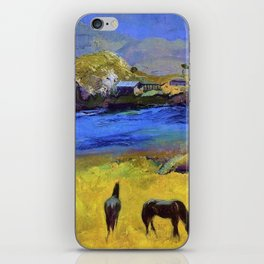 Horses in the Meadow, Carmel, California coastal landscape painting by George Wesley Bellows iPhone Skin