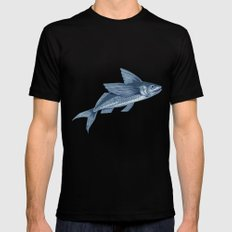 Flying Fish Drawing Black Mens Fitted Tee MEDIUM