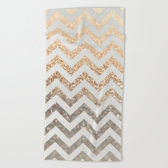 GOLD & SILVER CHEVRON Beach Towel
