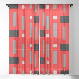Pattern of Squares in Red Sheer Curtain