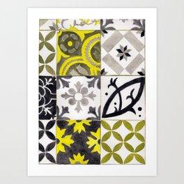 JD_tiled floor1–gouache Art Print