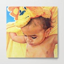 Baby With Blanket Metal Print