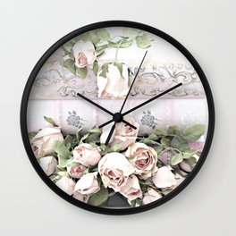 Romantic Pastel Pink Roses books Floral Prints and Home Decor Wall Clock
