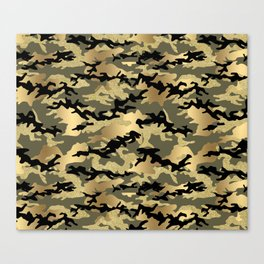 Gold Green Army Print Camouflage Canvas Print