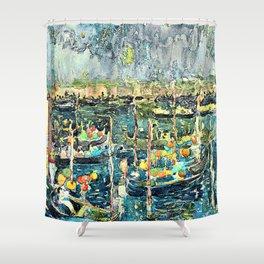 12,000pixel-500dpi - Maurice Brazil Prendergast - Festival, Venice - Digital Remastered Edition Shower Curtain